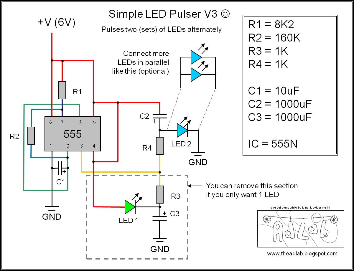 555 Timer Wiring Diagram Fleetwood Motorhome The Ad Lab Multiple Led Pulsing Via A