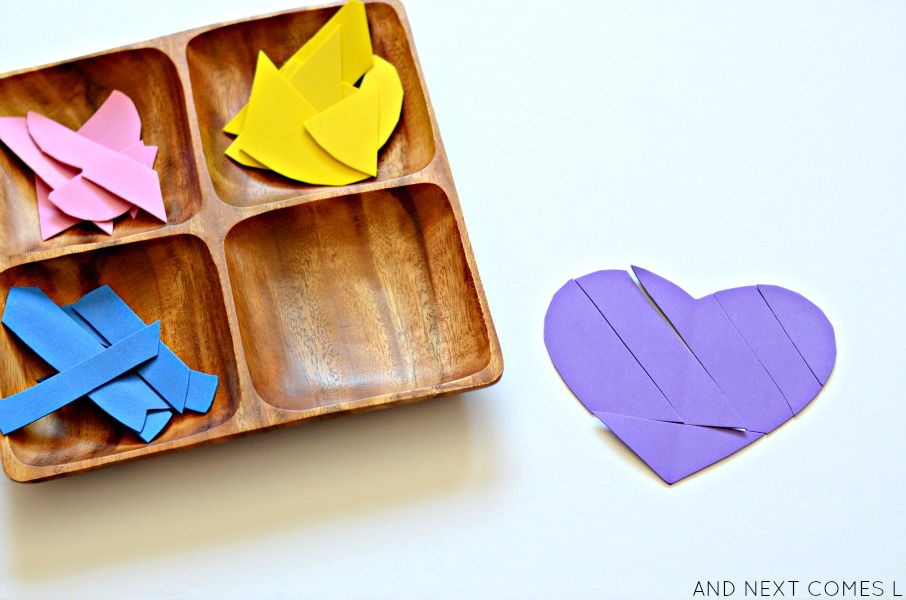 Foam heart tangram puzzles for Valentine's Day from And Next Comes L
