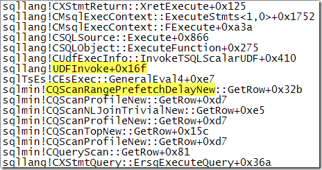 Call stack showing UDF invocation
