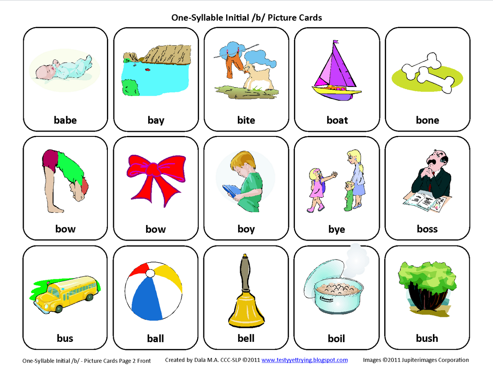Testy Yet Trying Initial B Free Speech Therapy Articulation Picture Cards
