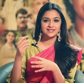 Keerthy Suresh in Pink Saree with Cute and Awesome Lovely Chubby Cheeks Smile 1