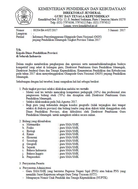 Surat Informasi Penyelenggaraan OGN SMA/SMK Tingkat Provinsi Tahun 2017