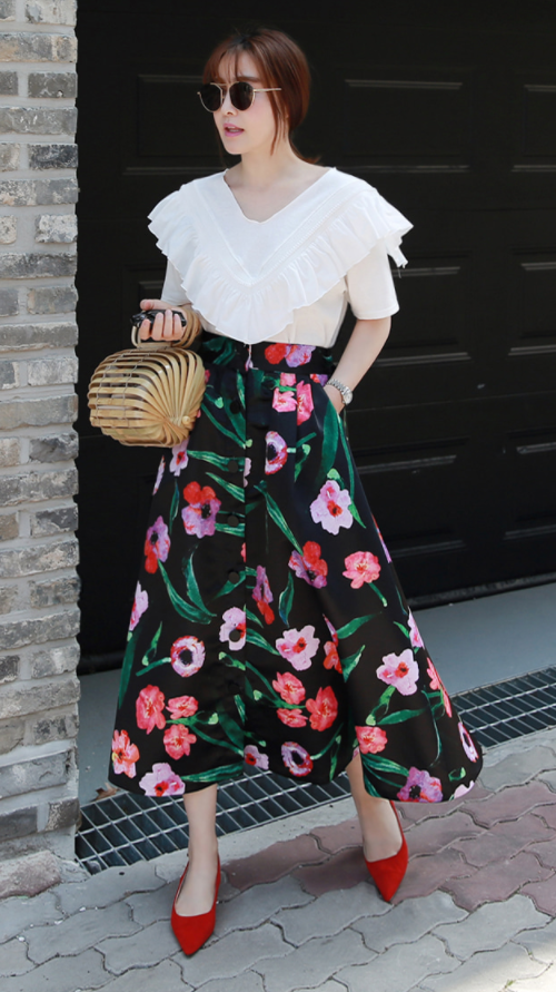 Button-Front Floral Midaxi Skirt
