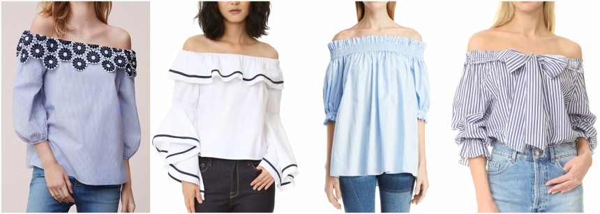 One of these off-the-shoulder blouses is from Alexander McQueen for $1,145 and the other three are under $100. Can you guess which one is the designer top?