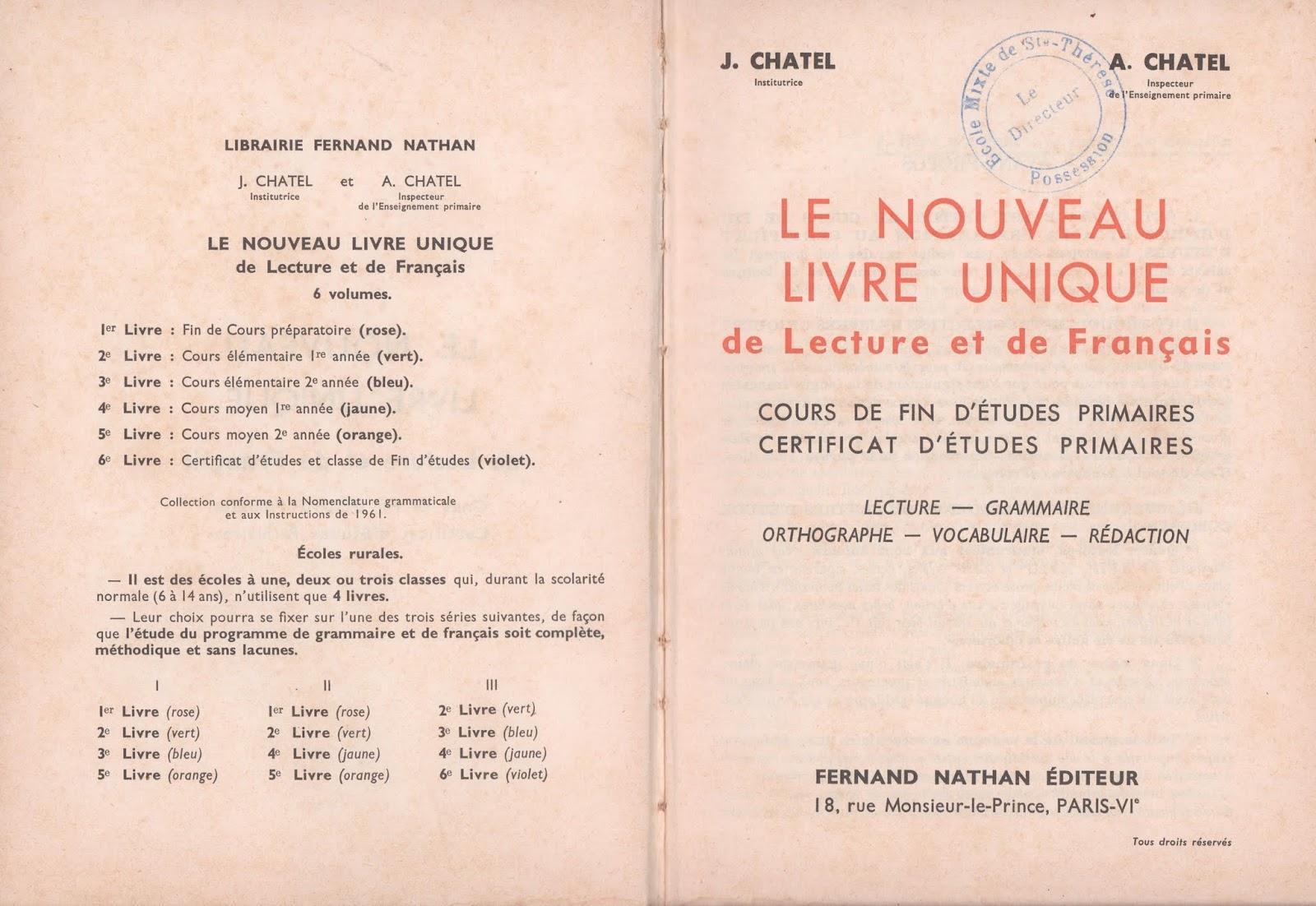 Manuels anciens chatel le nouveau livre unique de fran ais fin d 39 tudes primaires 1957 - Nouveau livre thermomix 2017 ...