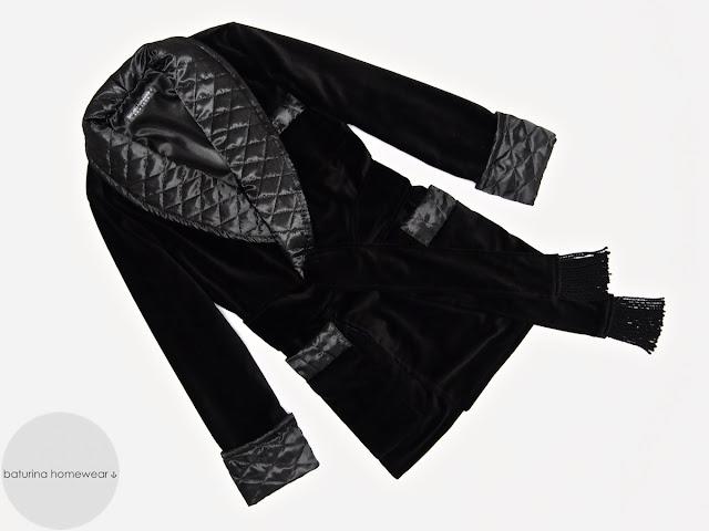 Mens black velvet robe smoking jacket silk dressing gown