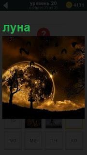 На закате диск луны скрывается за горизонтом в облаках в бледно желтом свете на фоне деревьев