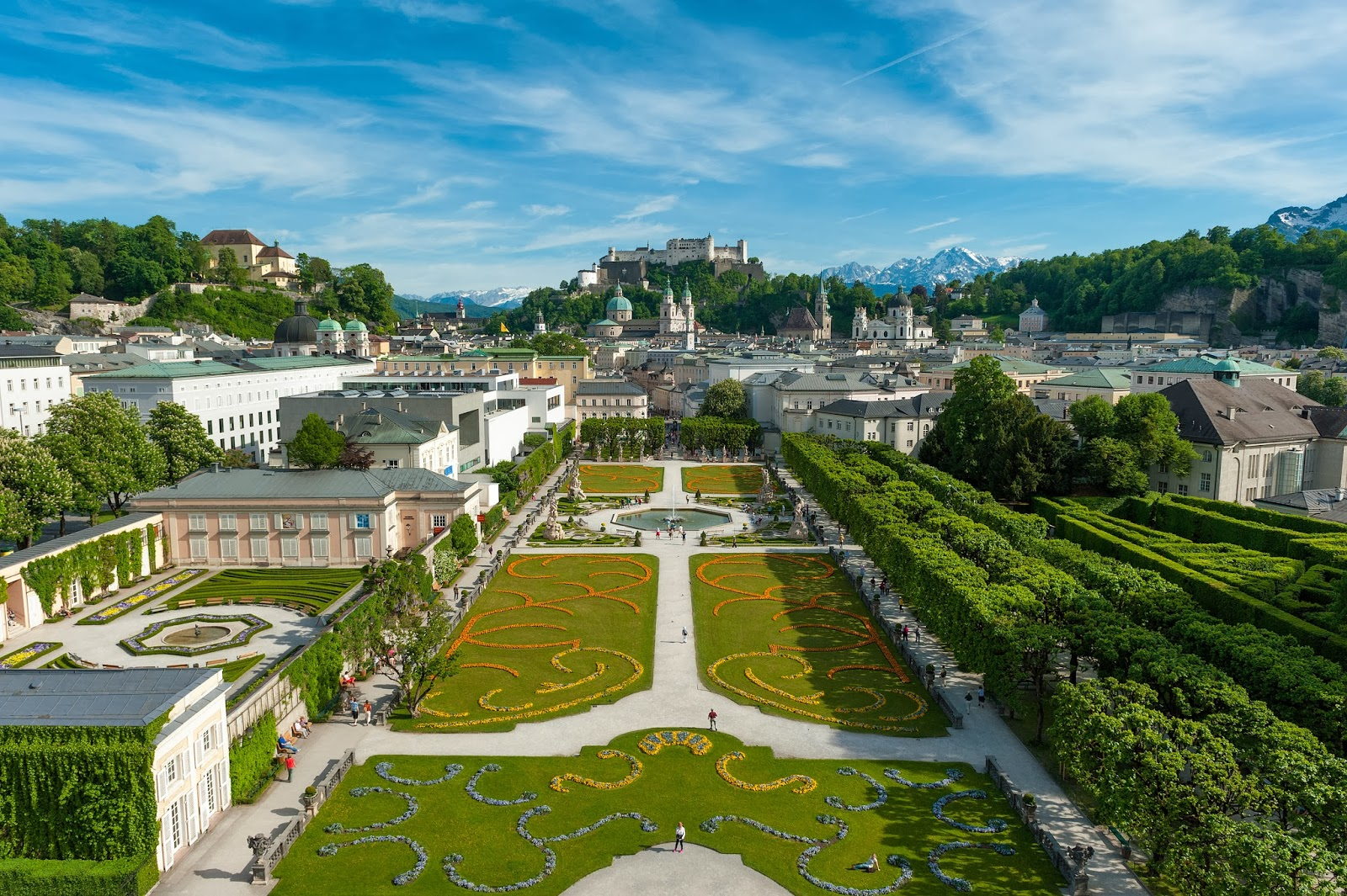 Spectacular view of Mirabell Gardnes, the Salzburg Cathedral and rising above it all, the magnificent Festung Hohensalzburg. Photo: Property of Tourismus Salzburg.