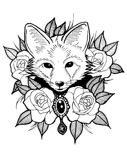 Coloringpagecutefoxwithroses Free To Print