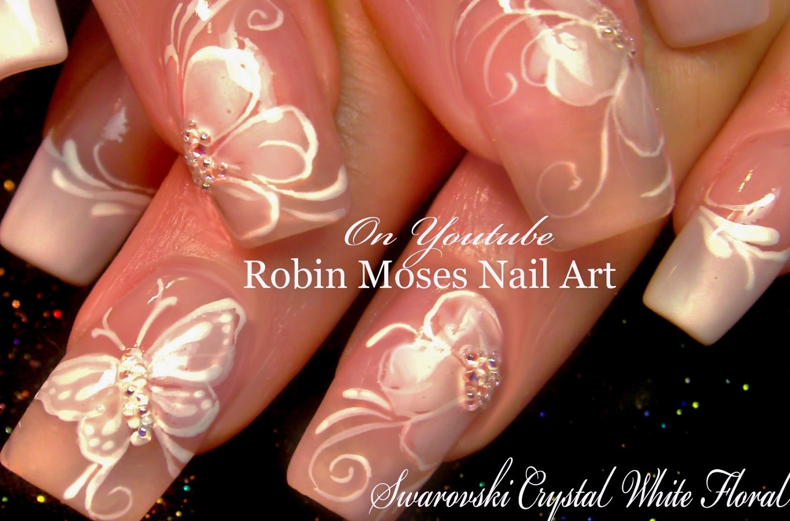 Nail Art by Robin Moses: Elegant White Flower Nails \