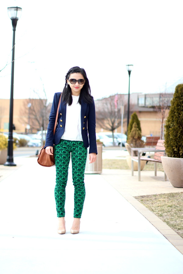 Kelly Green and Navy Blue (Featuring J. Crew Toothpick Cord in Ribbon Bow Print)