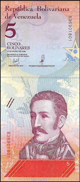 Venezuela Currency 5 Bolivares Soberanos banknote 2018 Jose Felix Ribas