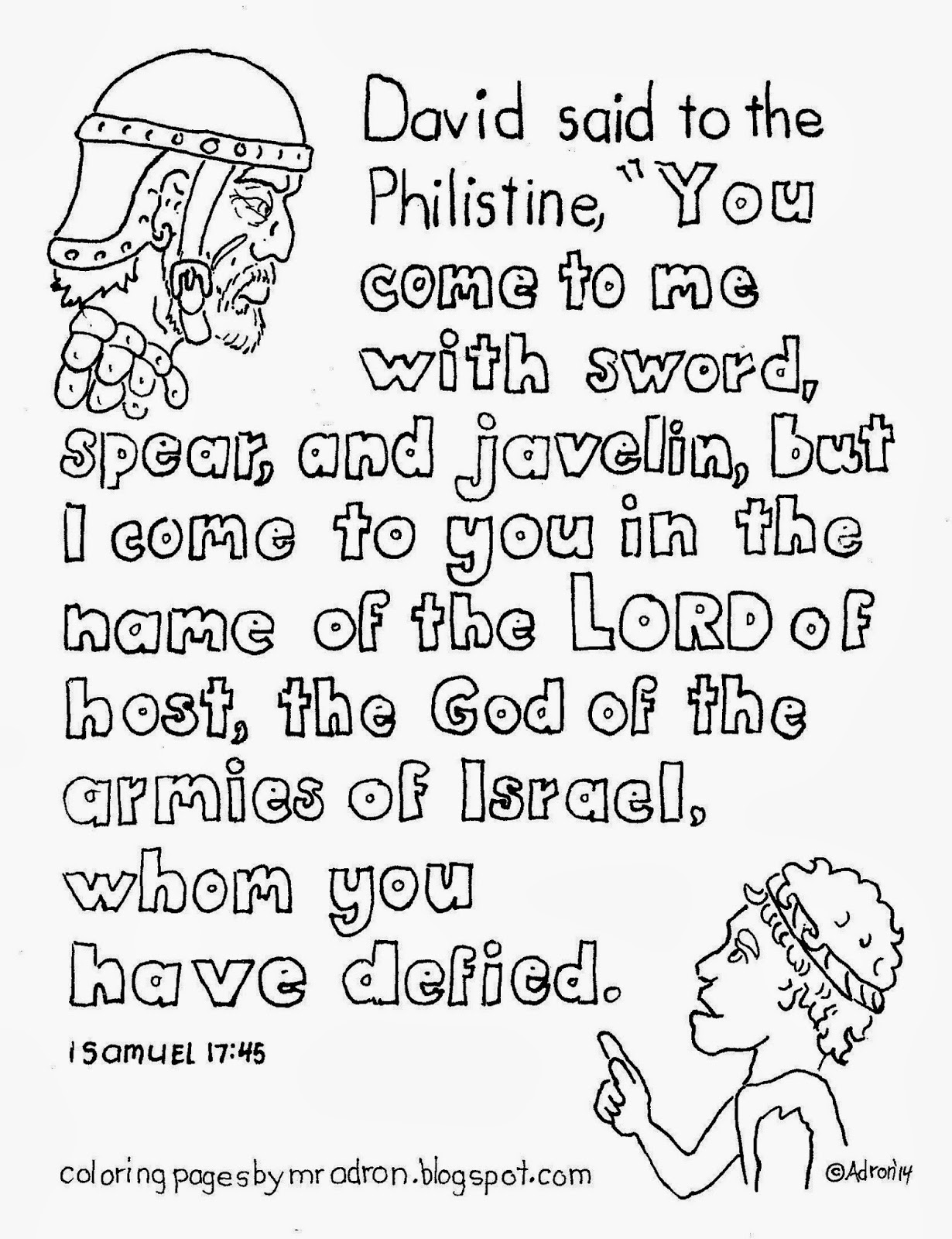 Coloring Pages For Kids By Mr Adron David And Goliath