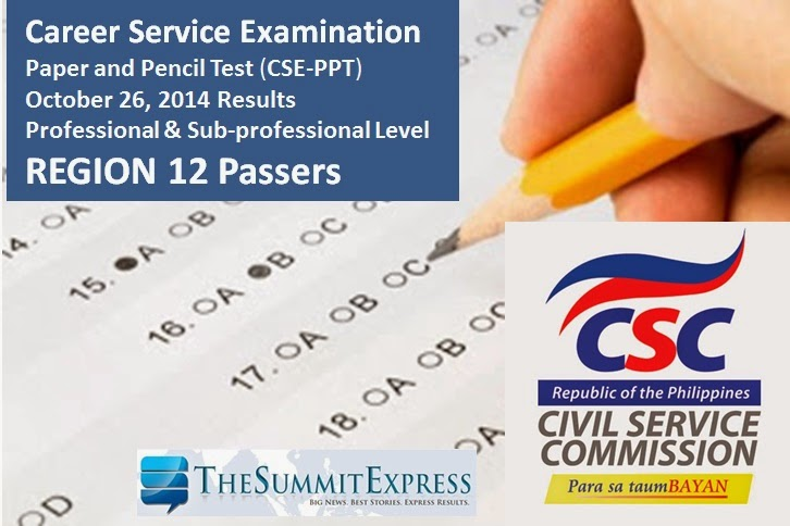 Region 12 Passers: April 2014 Civil service exam results (CSE-PPT)