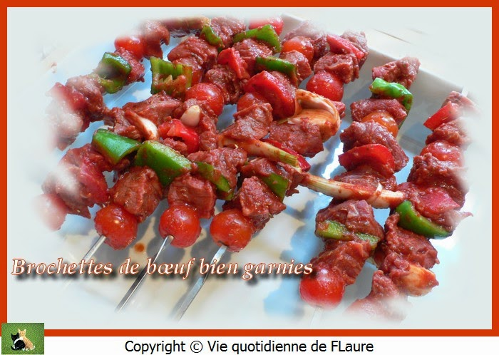 Vie quotidienne de FLaure: Brochettes de bœuf bien garnies
