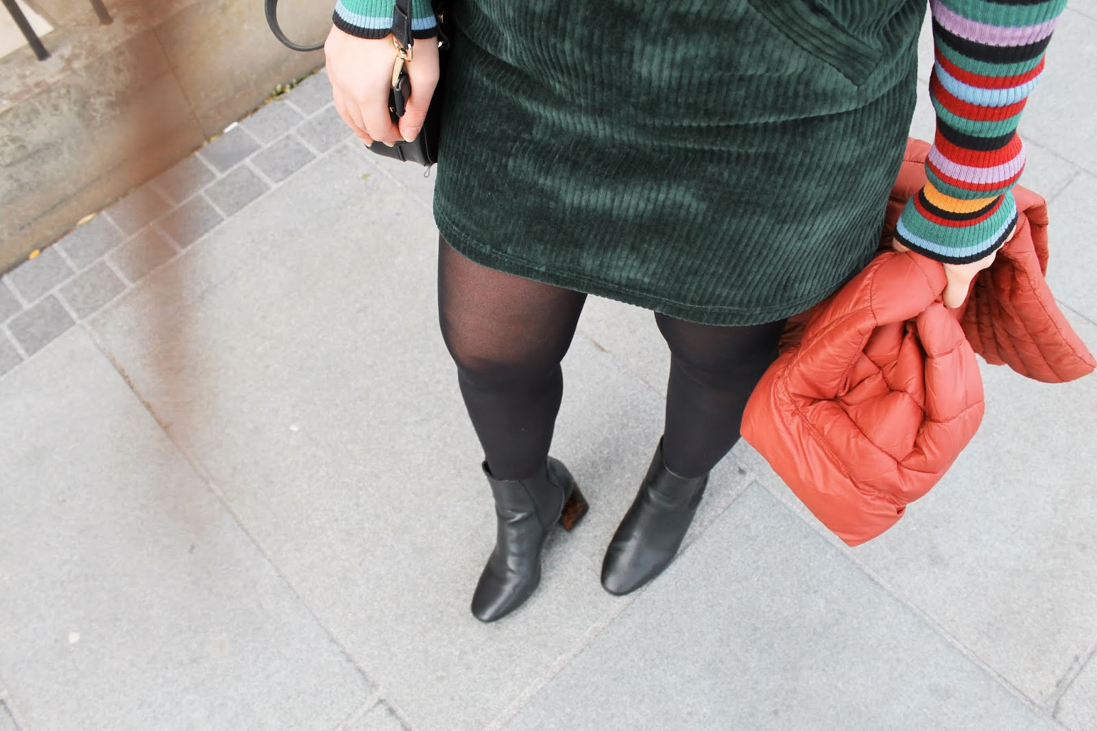 Green Cord Pinafore Dress, Striped Top and Boots