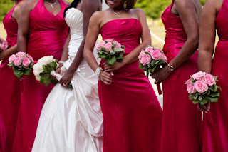 simple rose bouquets for bride and bridesmaids