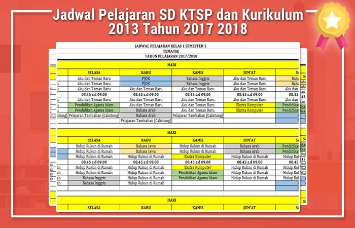 Jadwal Pelajaran SD KTSP dan Kurikulum 2013 Tahun 2017 2018
