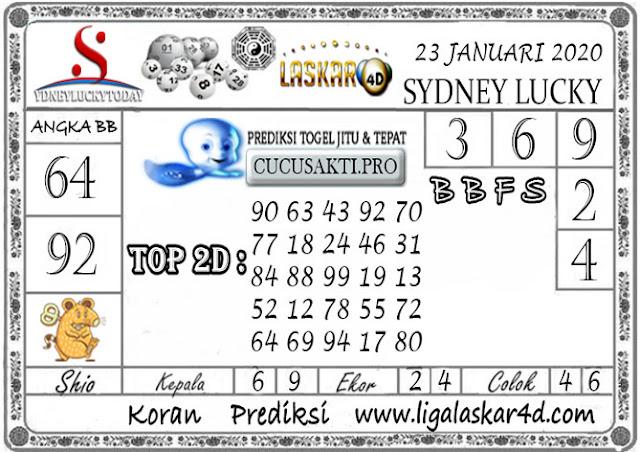 Prediksi Sydney Lucky Today LASKAR4D 23 JANUARI 2020