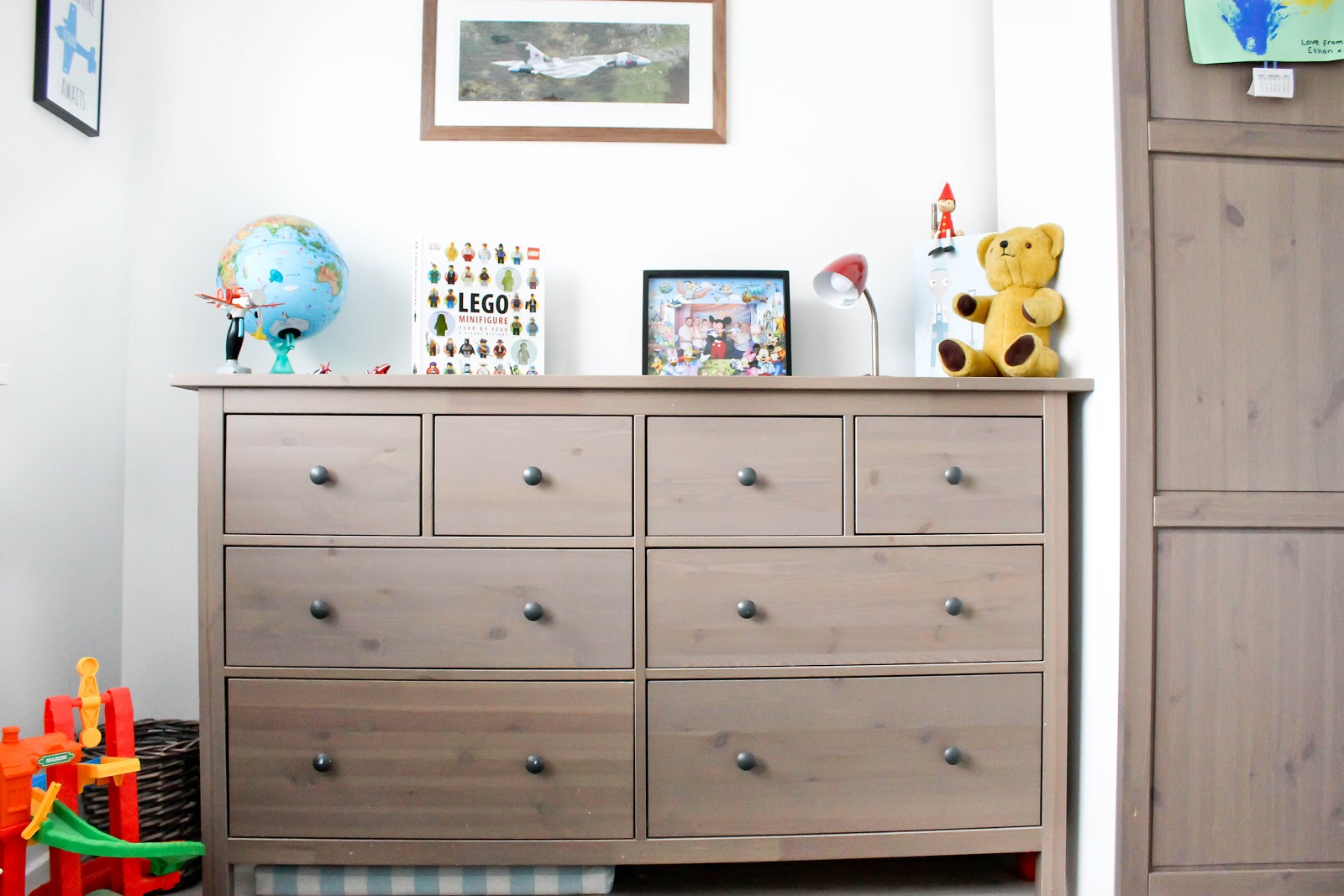 kids decor, kids room, plane themed room, ikea drawers,
