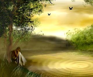 Mujer sentada en un árbol en un claro del bosque.