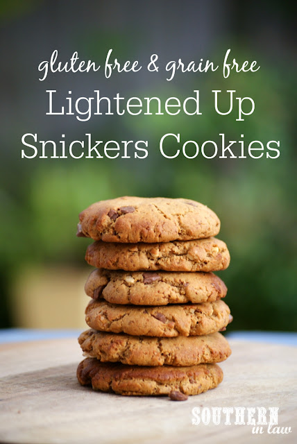 Flourless Lightened Up Snickers Cookies Recipe - low fat, low sugar, refined sugar free, flourless, grain free, gluten free, healthy, homemade snickers peanut butter cookies