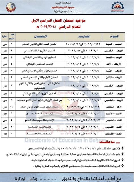 ننشر جدول امتحانات الصف الأول الثانوي 2019 الترم الأول لجميع المحافظات