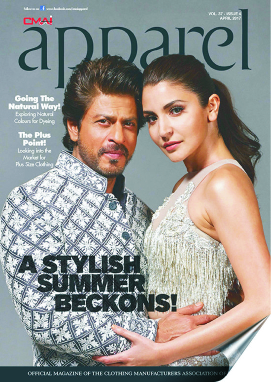 Shahrukh Khan and Anushka Sharma On The Cover of Apparel Magazine April 2017