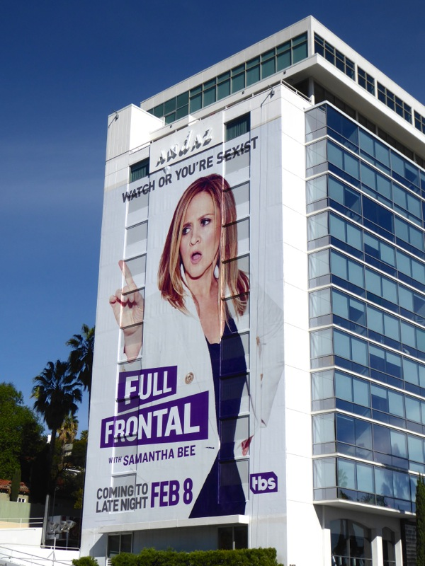 Giant Full Frontal Samantha Bee billboard