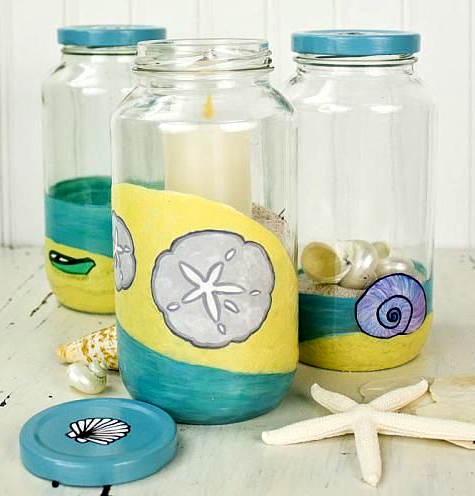 Coastal beach paint craft projects by decoart completely for How to paint glass jars