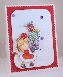 Heather's Hobbie Haven - Girl With Xmas Present Card Kit
