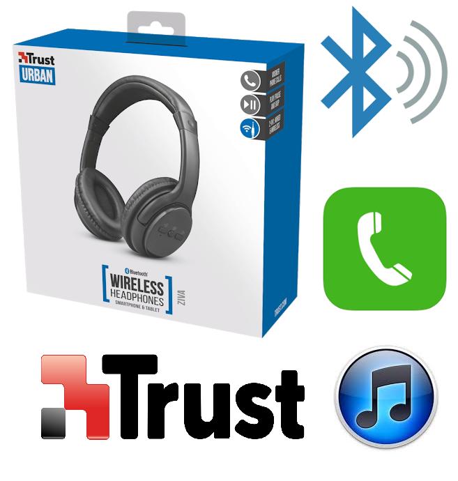 TRUST ZIVA CUFFIE WIRELESS BLUETOOTH PER ASCOLTARE MUSICA E TELEFONARE 22455 9d9193134860