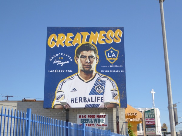 Steven Gerrard LA Galaxy Greatness billboard