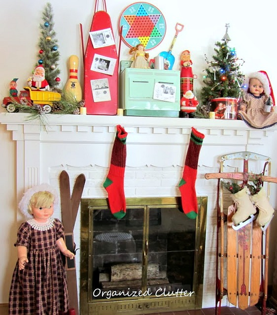 Vintage Toy Christmas Mantel organizedclutter.net