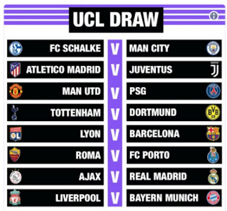 Reigning champions Real Madrid will take on Ajax, Manchester City will tackle Schalke and Tottenham will battle with Borussia Dortmund Manchester United will face Neymar and Paris Saint-Germain in the last 16 of the Champions League.