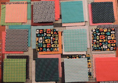 pick two background fabrics for each churn dash block