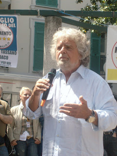 Beppe Grillo addresses a crowd of  supporters in Sestri Levante in Liguria