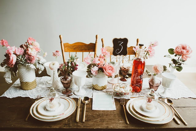 styled shoot tablescape, flowers by periwinkle flowers