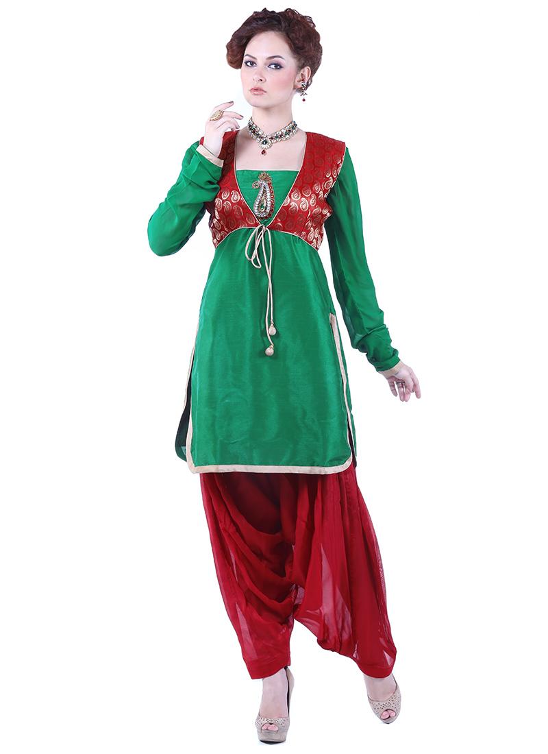 Green Art Dupion Silk Semi Patiala Suit
