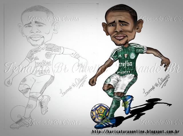 Esboço e Caricatura Gabriel Jesus Palmeiras 2015