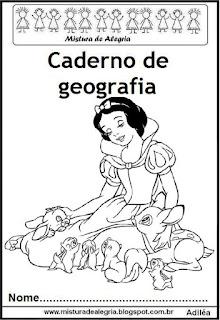 Capa para caderno geografia princesas