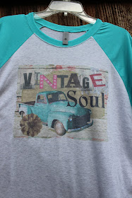 Vintage t shirt with turquoise truck, burlap and lace