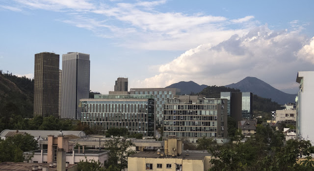 Skyline in the Providencia neighborhood of Santiago Chile