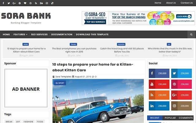 Sora Bank Responsive Blogger Template