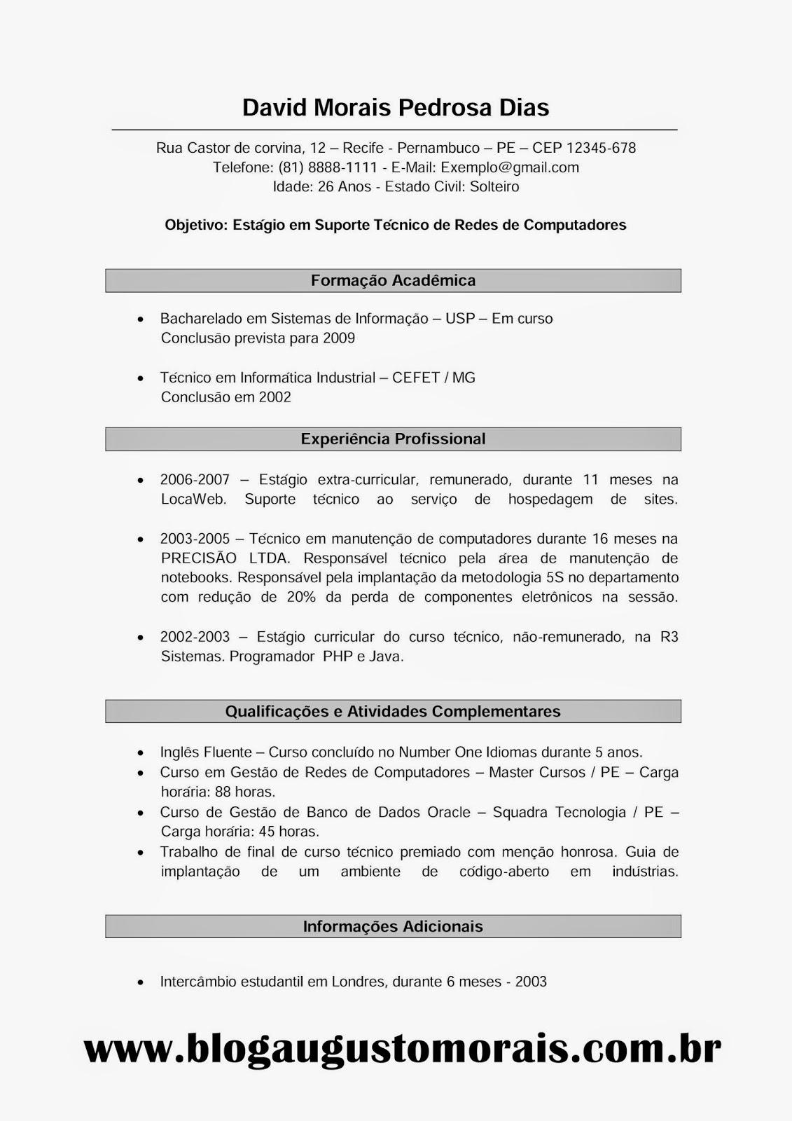 Modelo De Curriculum Vitae Em Portugues Para Preencher Pay Someone