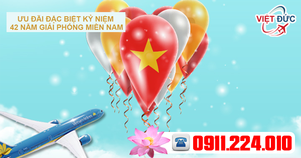 cơ hội mua vé máy bay giảm 15% giá vé nhân dịp lễ 30-4 từ vietnam airlines