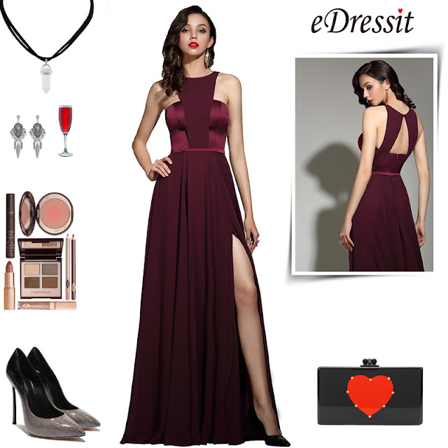 eDressit Elegant Burgundy Halter Red Carpet Chiffon