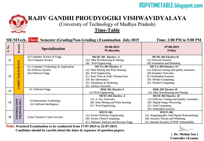 RGPV M Tech/ME 3rd Sem Exam Time Table | RGPV Examination