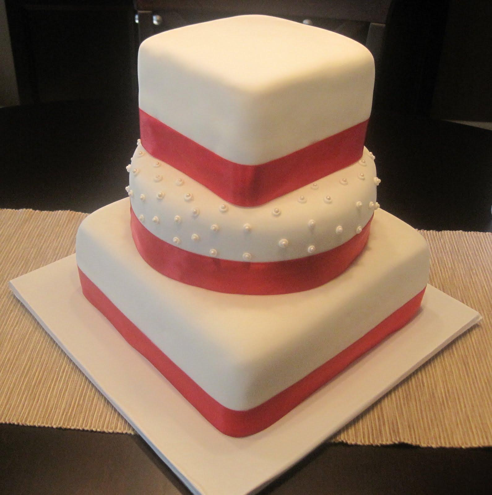 Modern Wedding Cakes: Creative Cakes By Lynn: Red & White Modern Wedding Cake