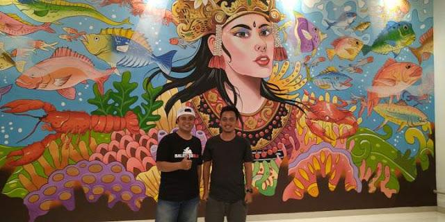 Lukisan Dinding Keren dari Monez di Ocean Hai Restauran Kedonganan